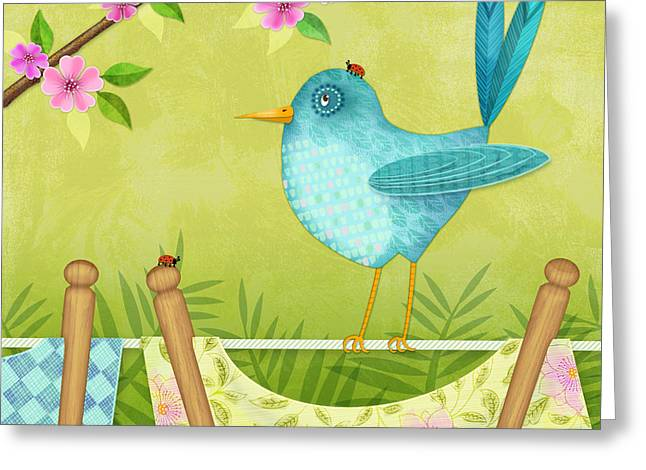 Posters On Mixed Media Greeting Cards - Bird on Clothesline Greeting Card by Valerie   Drake Lesiak