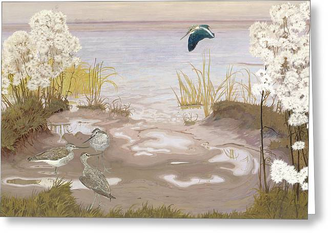 Bird On The Mud Flats Of The Elbe Greeting Card by Friedrich Lissmann
