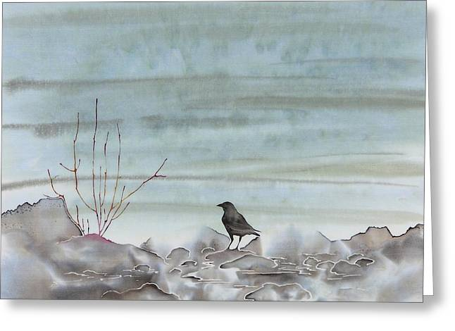 Gray Tapestries - Textiles Greeting Cards - Bird on the Shore Greeting Card by Carolyn Doe
