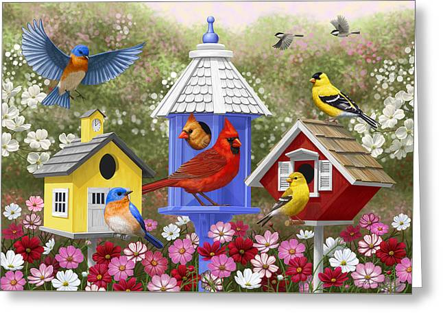 Bird Painting - Primary Colors Greeting Card by Crista Forest