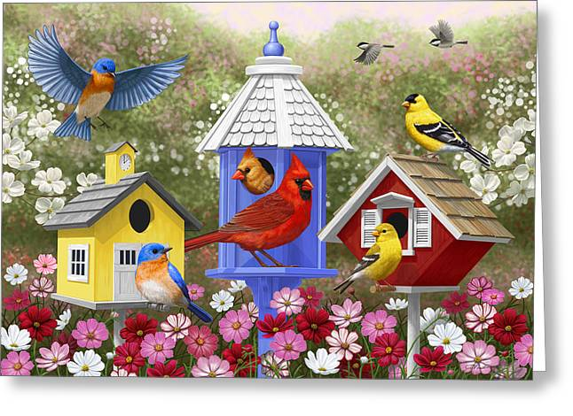 Birds And Flowers Greeting Cards - Bird Painting - Primary Colors Greeting Card by Crista Forest