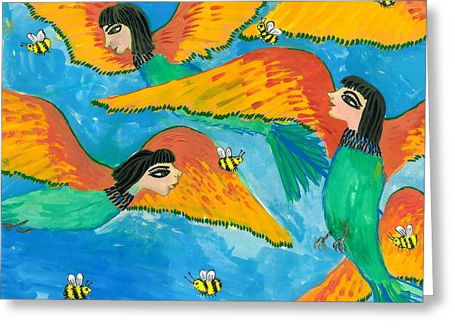 Bird People Bee Eaters For Artweeks Greeting Card by Sushila Burgess