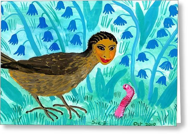 Bird People Blackbird And Worm Greeting Card by Sushila Burgess
