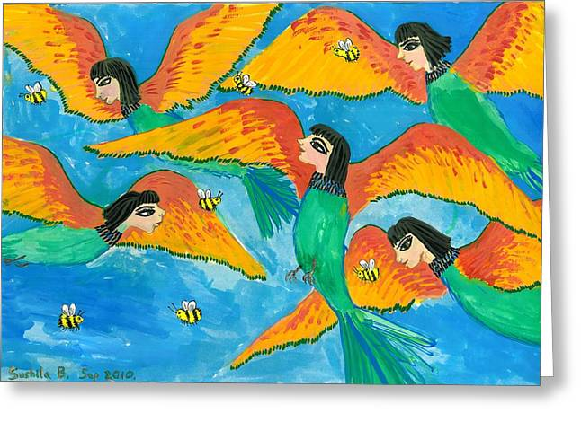 Bird People Little Green Bee Eaters Of Upper Egypt Greeting Card by Sushila Burgess