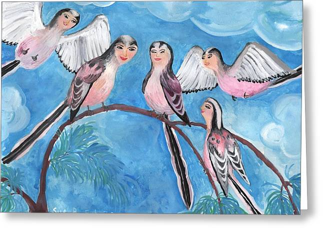 Sue Burgess Greeting Cards - Bird People Long Tailed Tits Greeting Card by Sushila Burgess