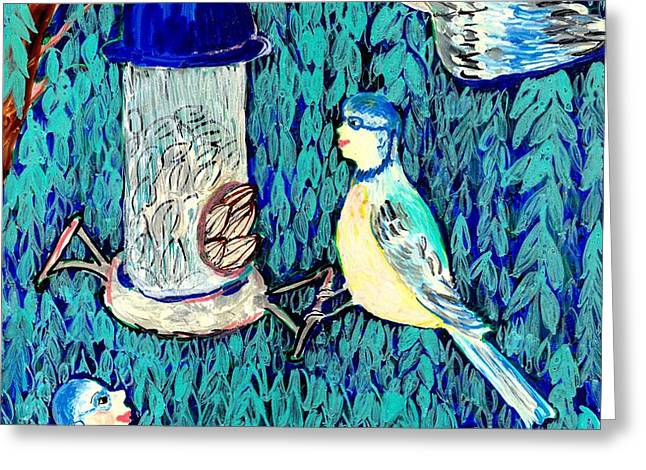Bird people The bluetit family Greeting Card by Sushila Burgess