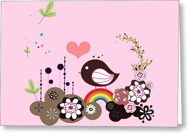 Floral Digital Art Digital Art Greeting Cards - Bird with flowers and rainbow Greeting Card by Olga Cherverikova