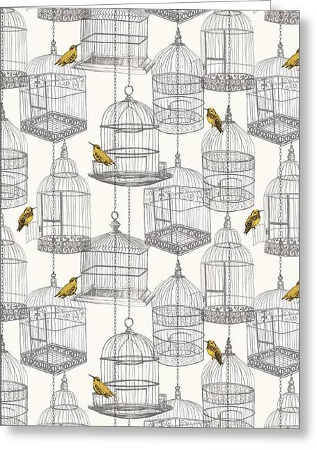 Birdcages Greeting Card by Stephanie Davies