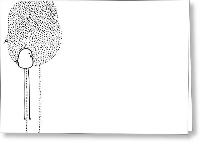 Stippling Drawings Greeting Cards - Birdie Greeting Card by Karl Addison