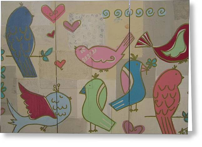 Birdie Tea Party Greeting Card by Ashley Price