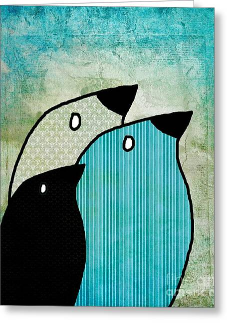Trio Digital Greeting Cards - Birdies - 6904a Greeting Card by Variance Collections