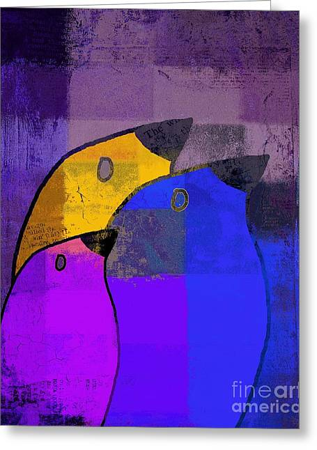 Purple Digital Art Greeting Cards - Birdies - c02tj126v5c35 Greeting Card by Variance Collections