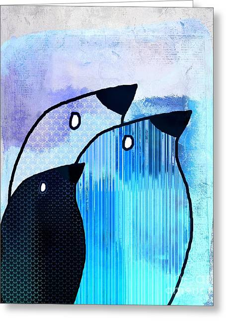 Gray Bird Greeting Cards - Birdies - sp6905bj122b Greeting Card by Variance Collections