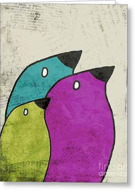 Lime Greeting Cards - Birdies - v06c Greeting Card by Variance Collections
