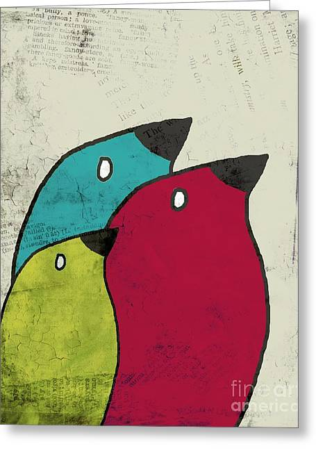 Textured Drawings Greeting Cards - Birdies - v101s1t Greeting Card by Variance Collections