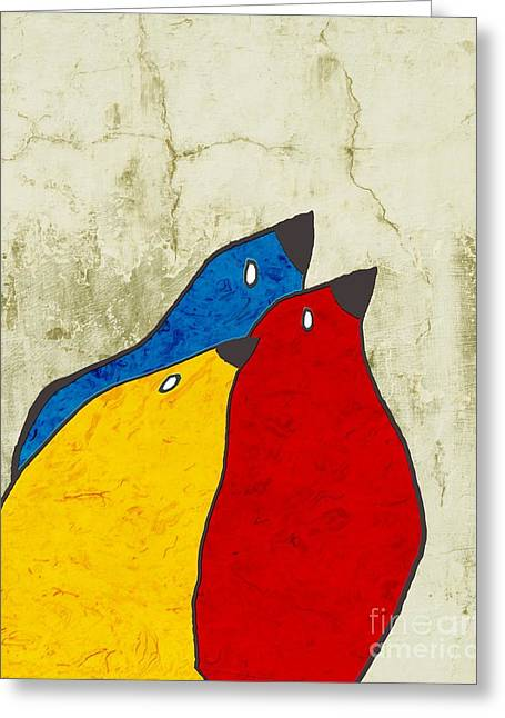 Red Abstracts Greeting Cards - Birdies - v112t100b3 Greeting Card by Variance Collections