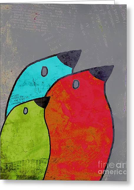 Gray Bird Greeting Cards - Birdies - v11b Greeting Card by Variance Collections