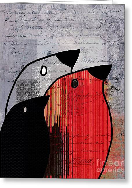 Birdies Red - J100129091 Greeting Card by Variance Collections