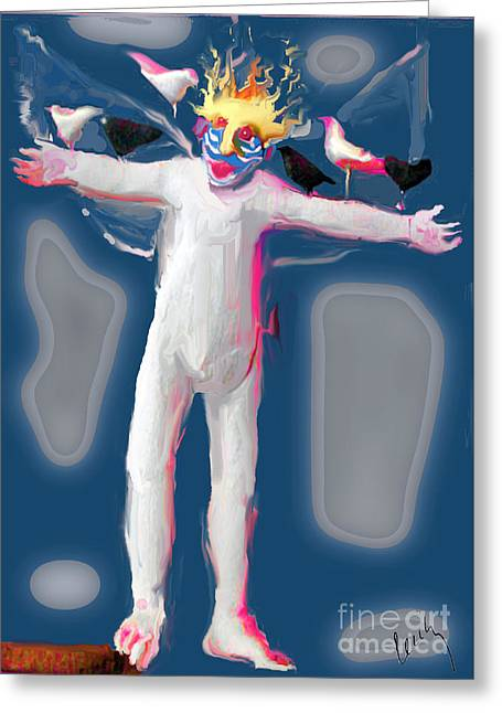 Angel Blues Greeting Cards - Birdman Greeting Card by Cecily Mitchell