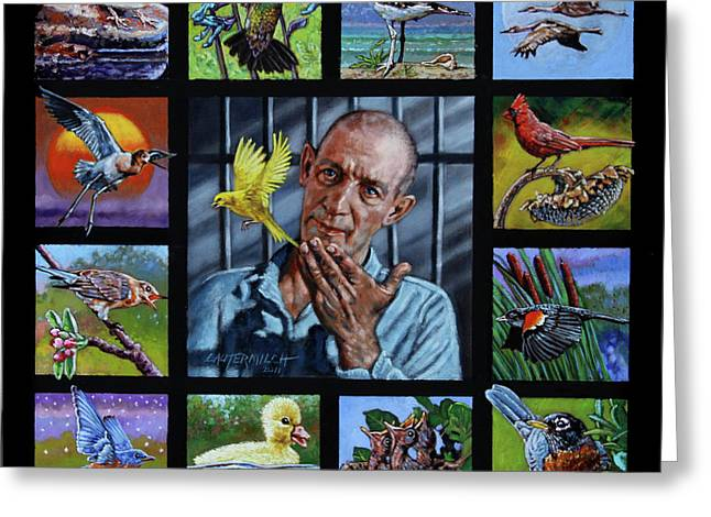 Alcatraz Greeting Cards - Birdman of Alcatraz Greeting Card by John Lautermilch