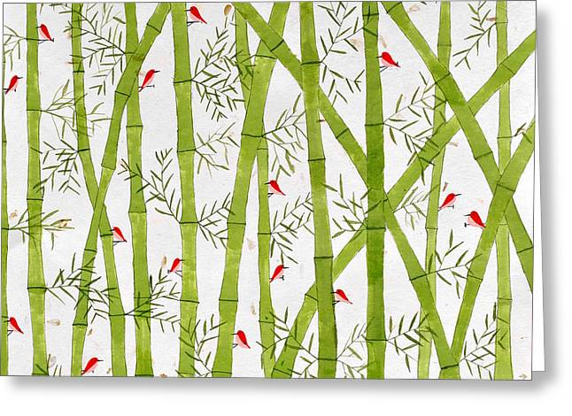 Flocks Of Birds Paintings Greeting Cards - Birds and Bamboo Greeting Card by Sumit Mehndiratta