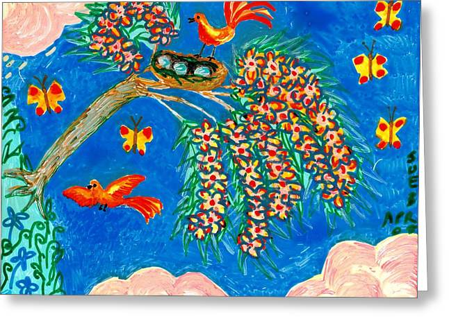 Birds and nest in flowering tree Greeting Card by Sushila Burgess