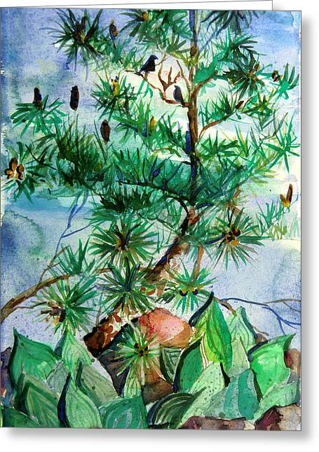 Pine Cones Greeting Cards - Birds and Pine Cones Greeting Card by Mindy Newman