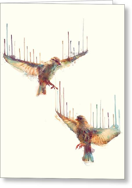 Forest Bird Greeting Cards - Birds // Awake Greeting Card by Amy Hamilton