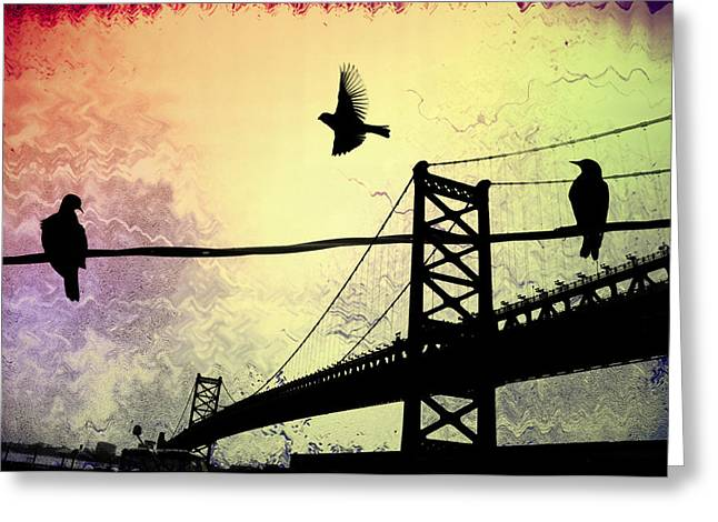 Ben Franklin Bridge Greeting Cards - Birds Eye View Greeting Card by Bill Cannon