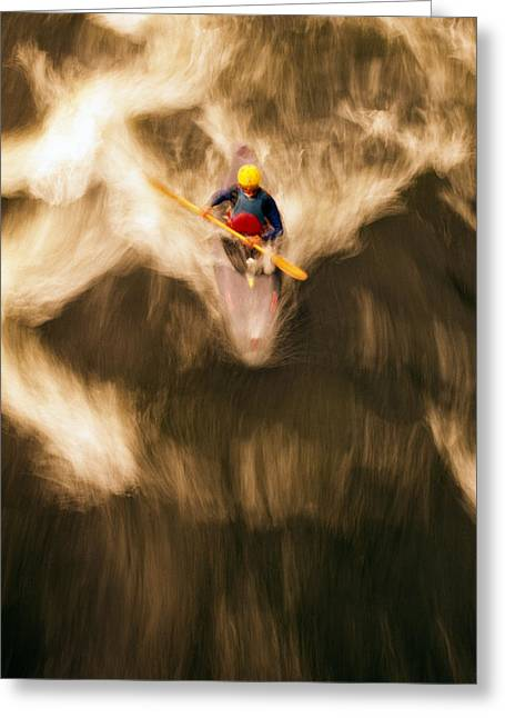 Mid Adult Greeting Cards - Birds-eye View Of Kayaker Greeting Card by Panoramic Images