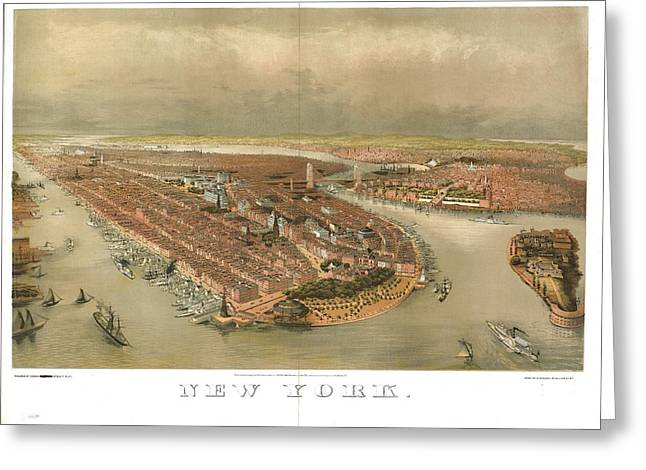 Governor Island Greeting Cards - Birds-eye view of New York showing the waterfron Greeting Card by Celestial Images