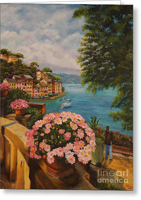 Portofino Italy Gallery Greeting Cards - Birds Eye View of Portofino Greeting Card by Charlotte Blanchard