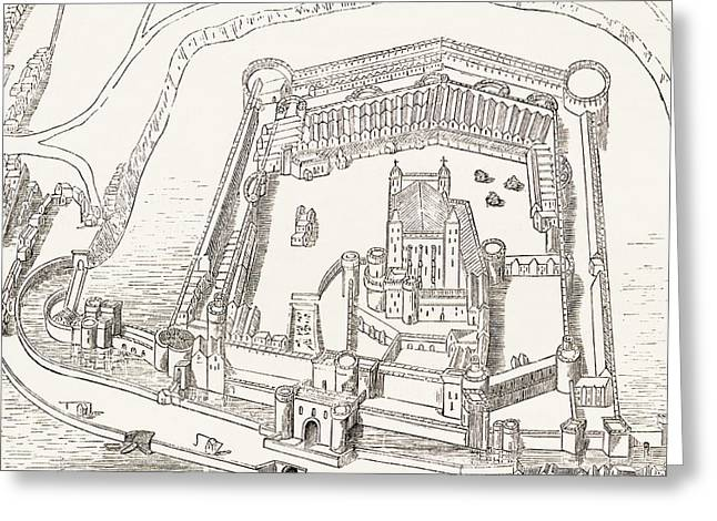 Castle. Birds Greeting Cards - Birds-eye View Of The Tower Of London Greeting Card by Ken Welsh