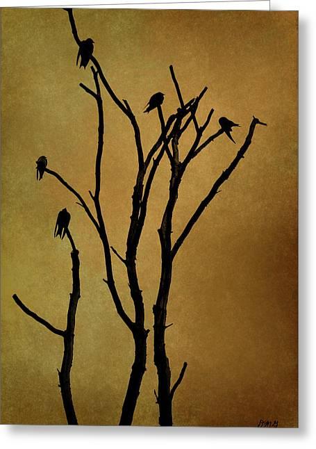 Birds In Tree Greeting Card by Dave Gordon