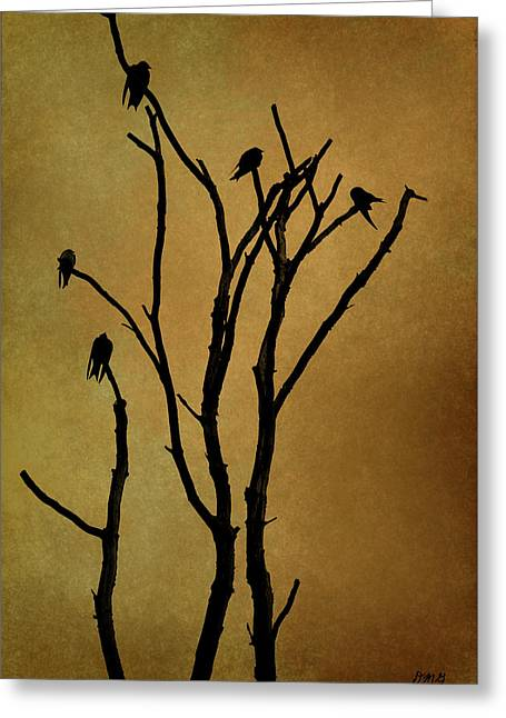 Recently Sold -  - Black Top Greeting Cards - Birds in Tree Greeting Card by Dave Gordon