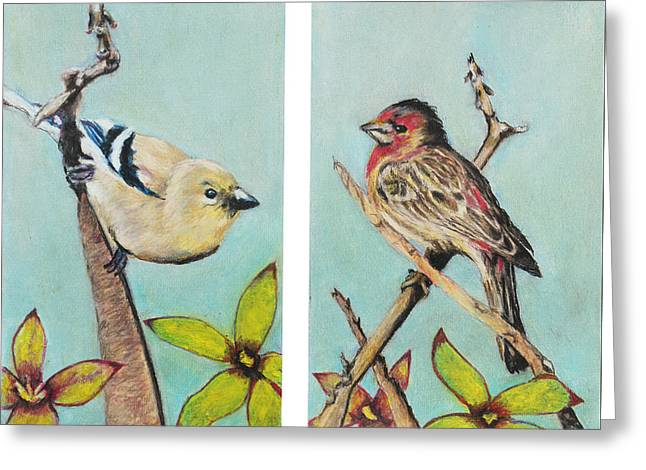 Beauty Pastels Greeting Cards - Birds Greeting Card by Jeanne Fischer
