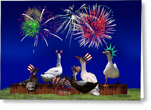 4th July Mixed Media Greeting Cards - Birds of a Feather Celebrate Freedom Greeting Card by Gravityx9  Designs
