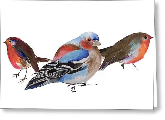 Finch Greeting Cards - Birds of a feather Greeting Card by Nancy Moniz