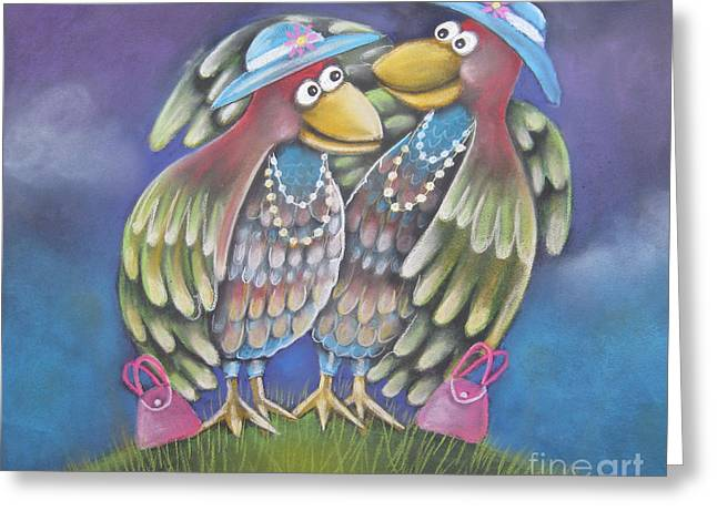 Birds Of A Feather Stick Together Greeting Card by Caroline Peacock