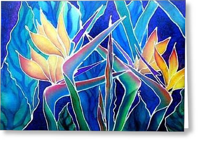 Edge Tapestries - Textiles Greeting Cards - Birds Of Paradise  Greeting Card by Francine Dufour Jones