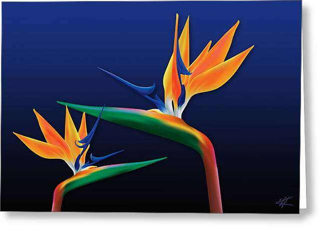 Birds Of Paradise Greeting Card by Kenneth Armand Johnson