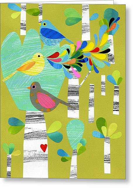 Green Foliage Mixed Media Greeting Cards - Birds of the Forest Greeting Card by Anne Vasko