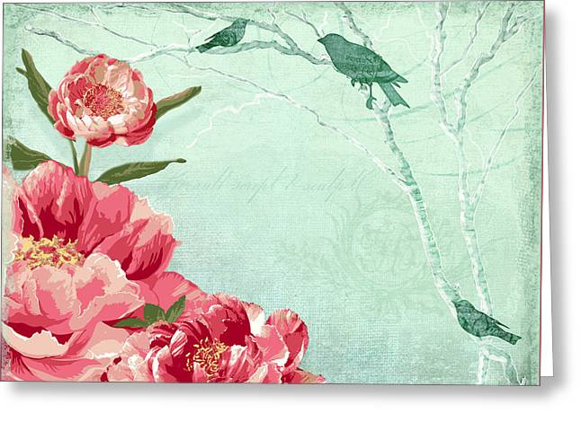 Bold Blossom Greeting Cards - Birds of the Sky Greeting Card by Audrey Jeanne Roberts