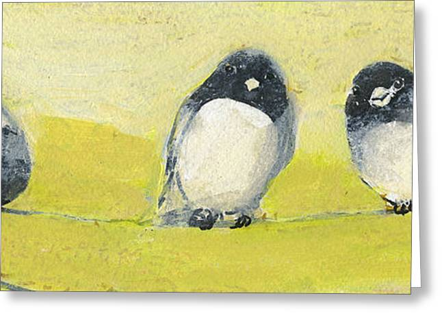 Sparrow Paintings Greeting Cards - Birds on a Wire Greeting Card by Jennifer Lommers