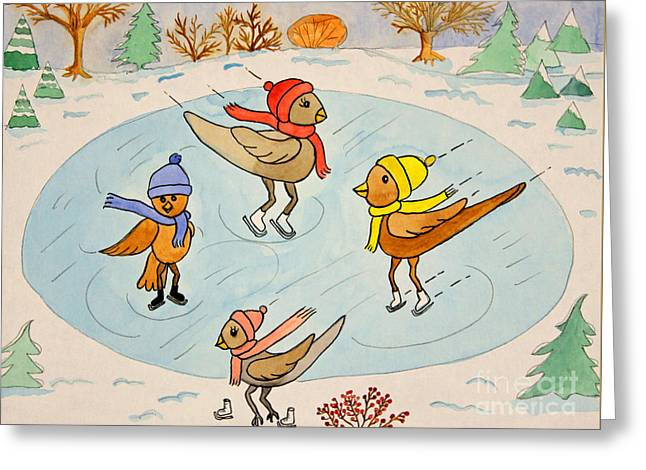 Ice-skating Greeting Cards - Birds on Ice Greeting Card by Norma Appleton