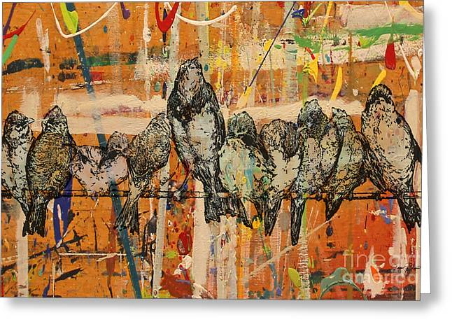 Abstract Digital Paintings Greeting Cards - Birds on Wood-JP3028 Greeting Card by Jean Plout