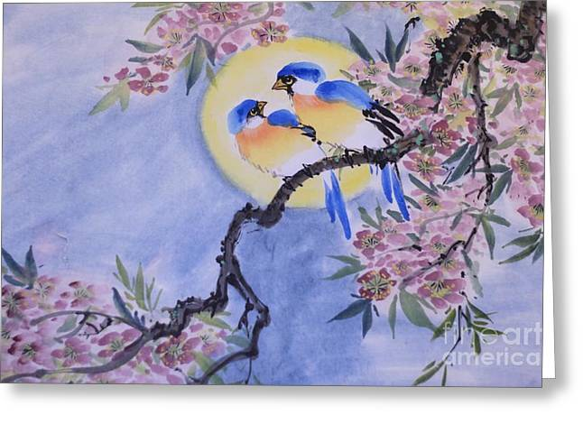 Sumie Greeting Cards - Birds Greeting Card by Rob Per