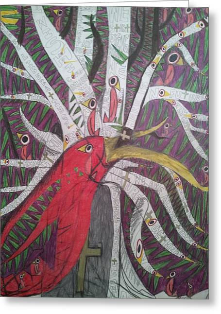 Bird On Tree Drawings Greeting Cards - Birds Greeting Card by William Douglas