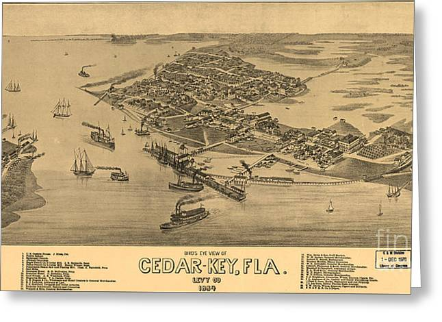Birdseye View Of Cedar Key, Florida Greeting Card by Celestial Images