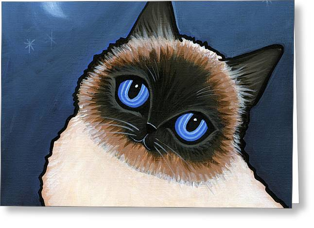 Birman Blue Night Greeting Card by Leanne Wilkes